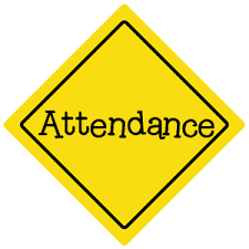 Caution Sign reading attendance