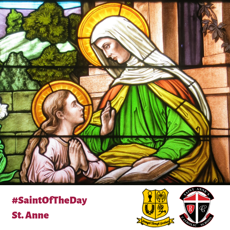 St. Anne with Mary as a child stain glass
