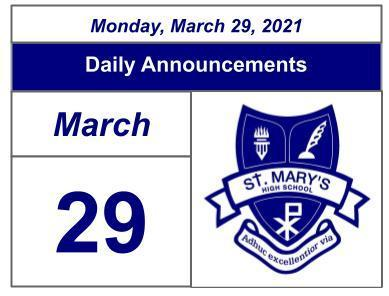 Daily Announcements - Monday, March 29, 2021 Featured Photo