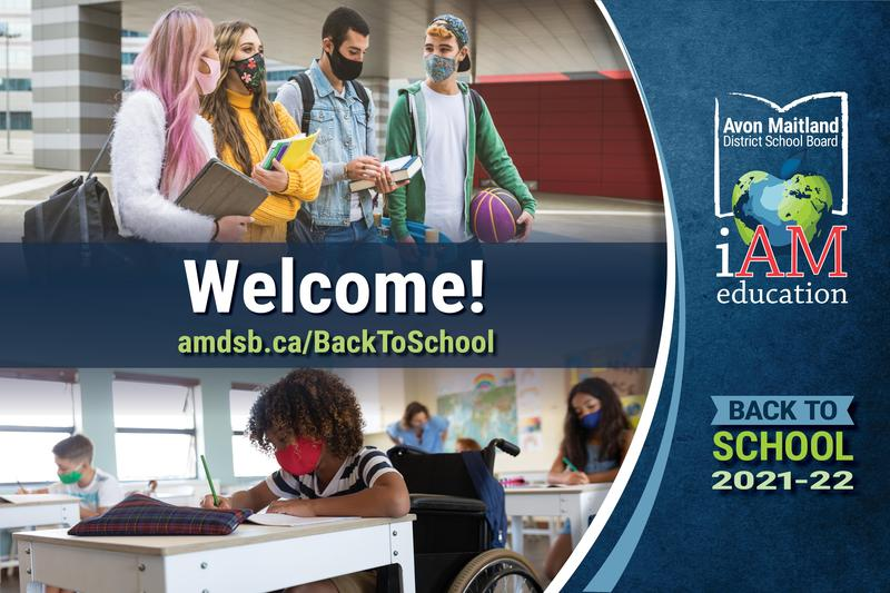 Images of secondary & elementary students wearing masks. Welcome! AMDSB logo. Back to school 2020-2021