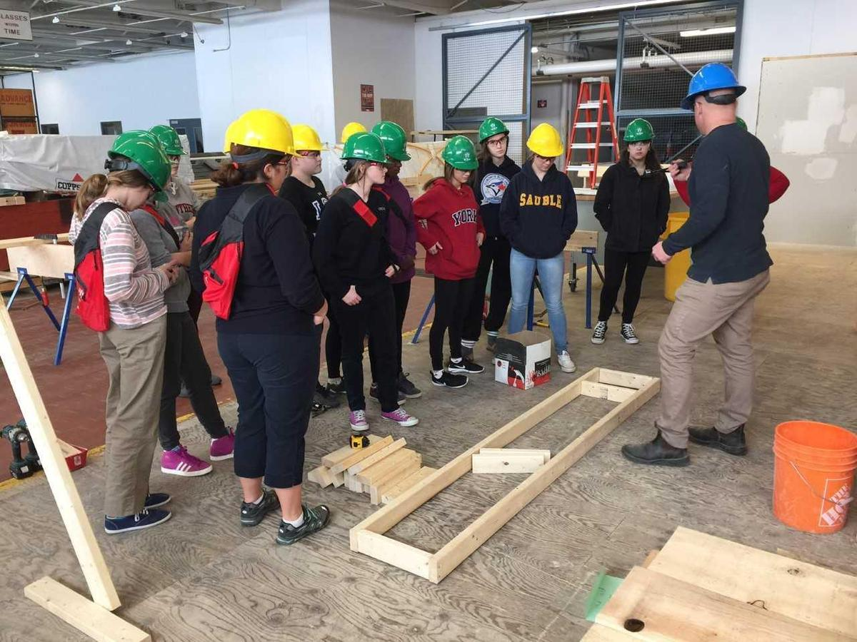Construction students learning