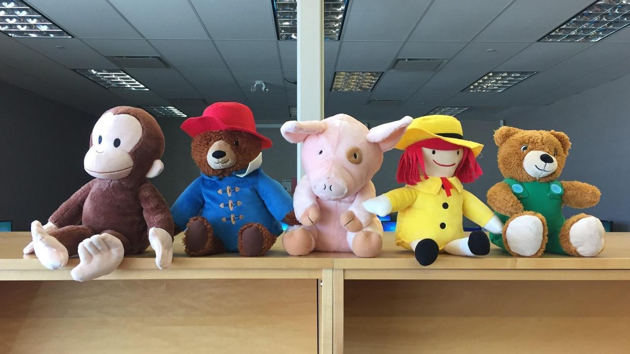 row of stuffed animals