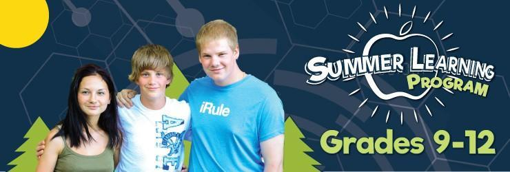 """Summer Learning Program banner image. Photo of 3 students with their arms around eachother. Background with evergreen trees and a sun. Text: Summer Learning Program Grades 9-12"""""""