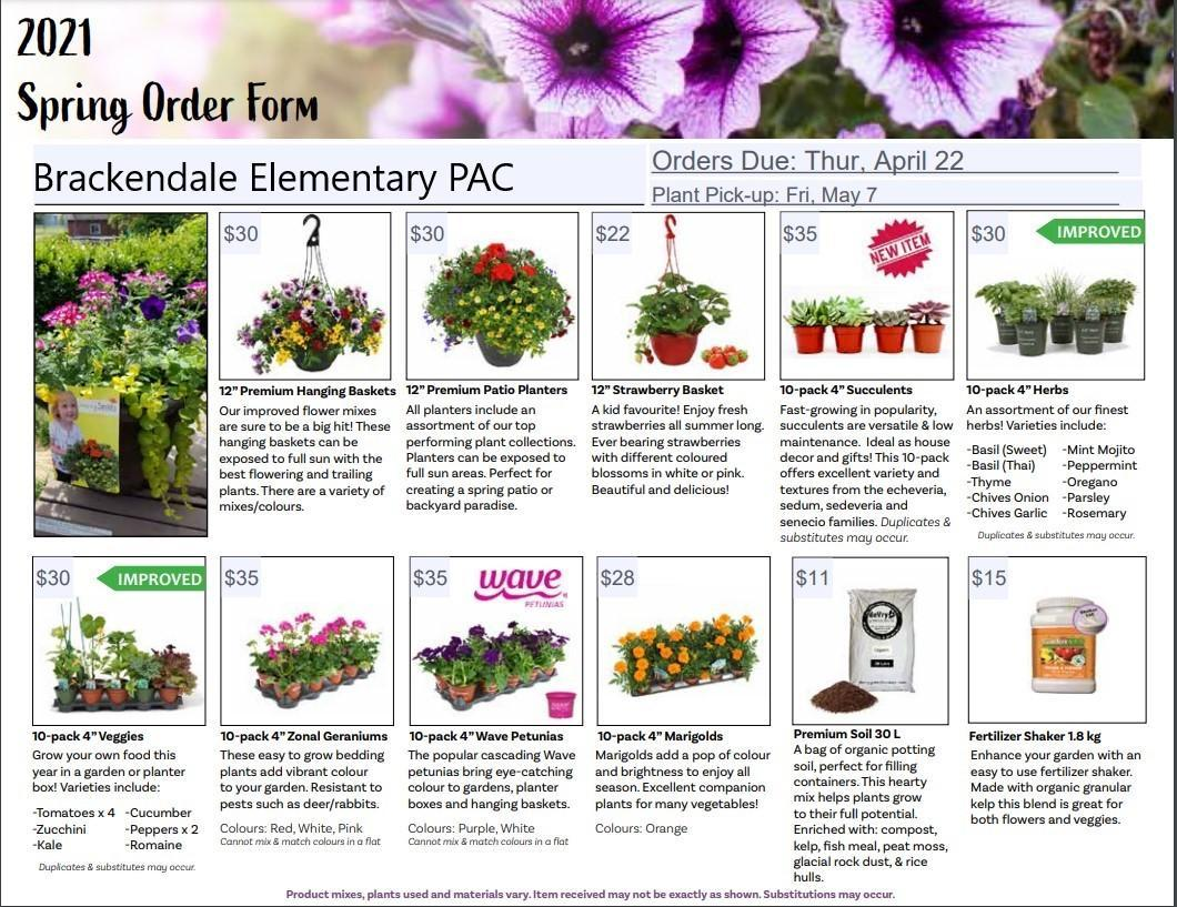 Spring plant ordering options