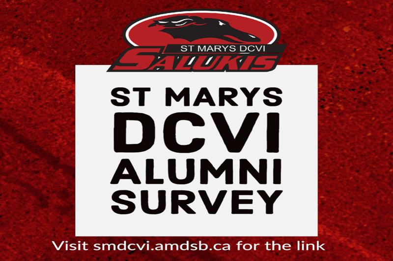St. Marys DCVI Alumni Survey. Visit smdcvi.amdsb.ca for the link or find it here: https://docs.google.com/forms/d/e/1FAIpQLScu3vOkId8LOTUkacwZiThNoiUz8I7kA3sPnnKok1wZ_Xqh_A/viewform