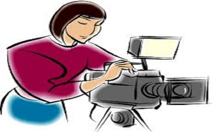 Sketch of female photographer behind a camera