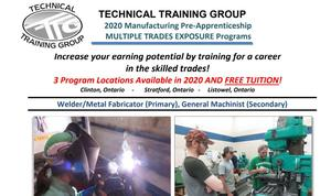 Image with details of the program and photo of kids trying trades