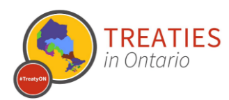 Treaties in Ontario graphic. Map of Ontario. #TreatyON