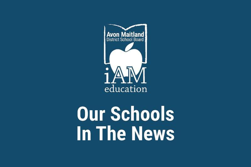 AMDSB logo in white over navy background. Text: Our Schools In The News.