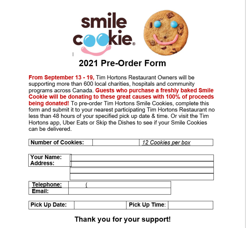 Smile Cookies available for purchase between September 13-19th please fill out the attached form
