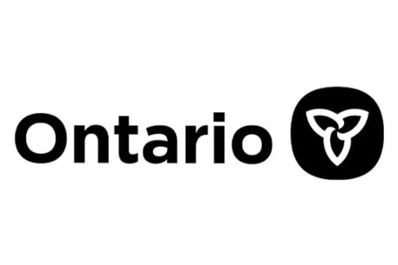 Ontario logo, white background, black lettering