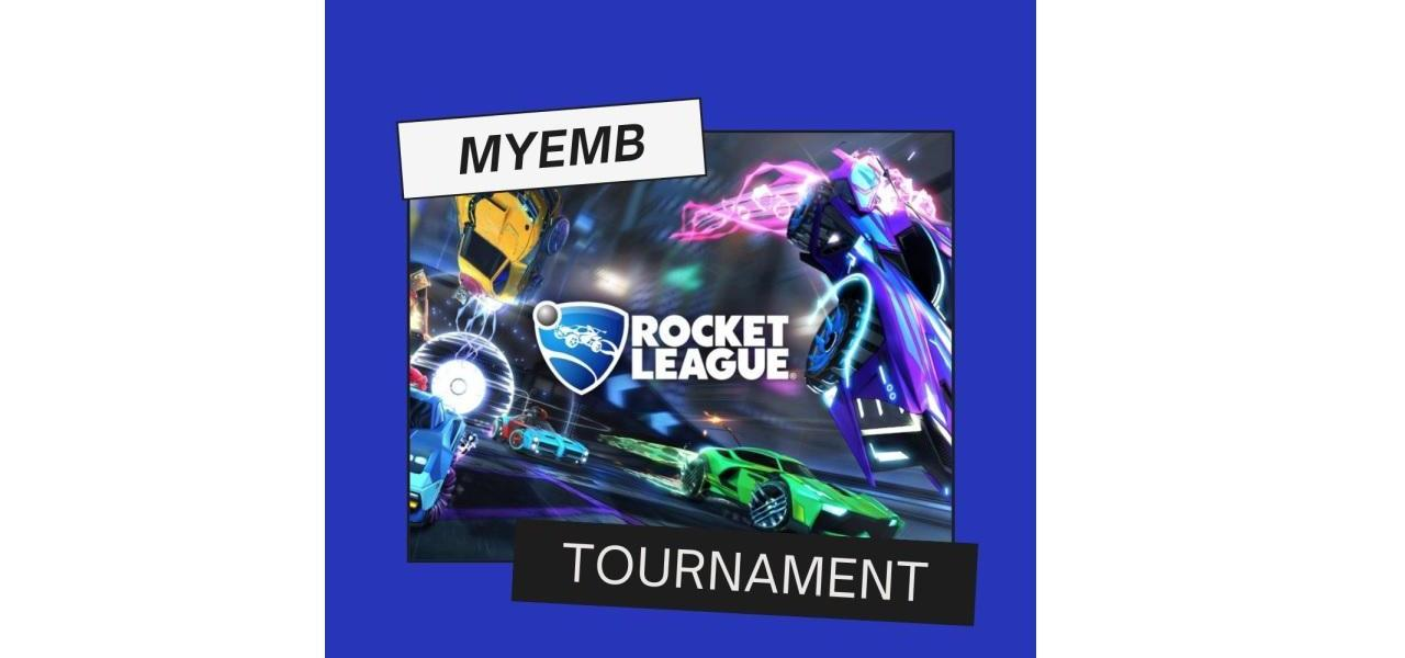 Blue, green, yellow cars on a screen with words reading Rocket League Tournament