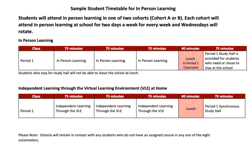 sample student timetable