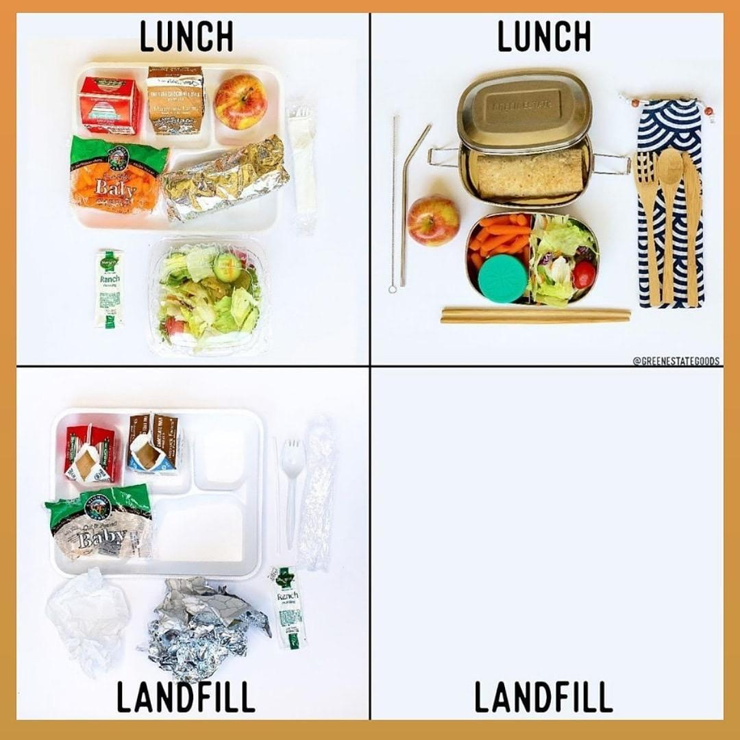 Image of various lunch containers showing ways to pack a litterless lunch.