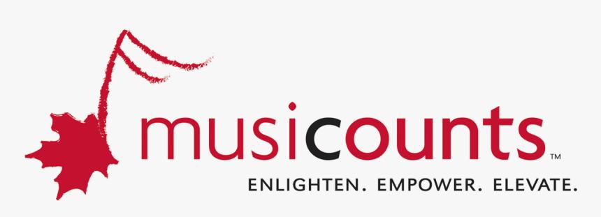 """MusiCounts logo. """"Enlighten. Empower. Elevate"""""""
