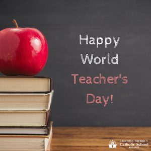 happy world teachers day written on chalkboard