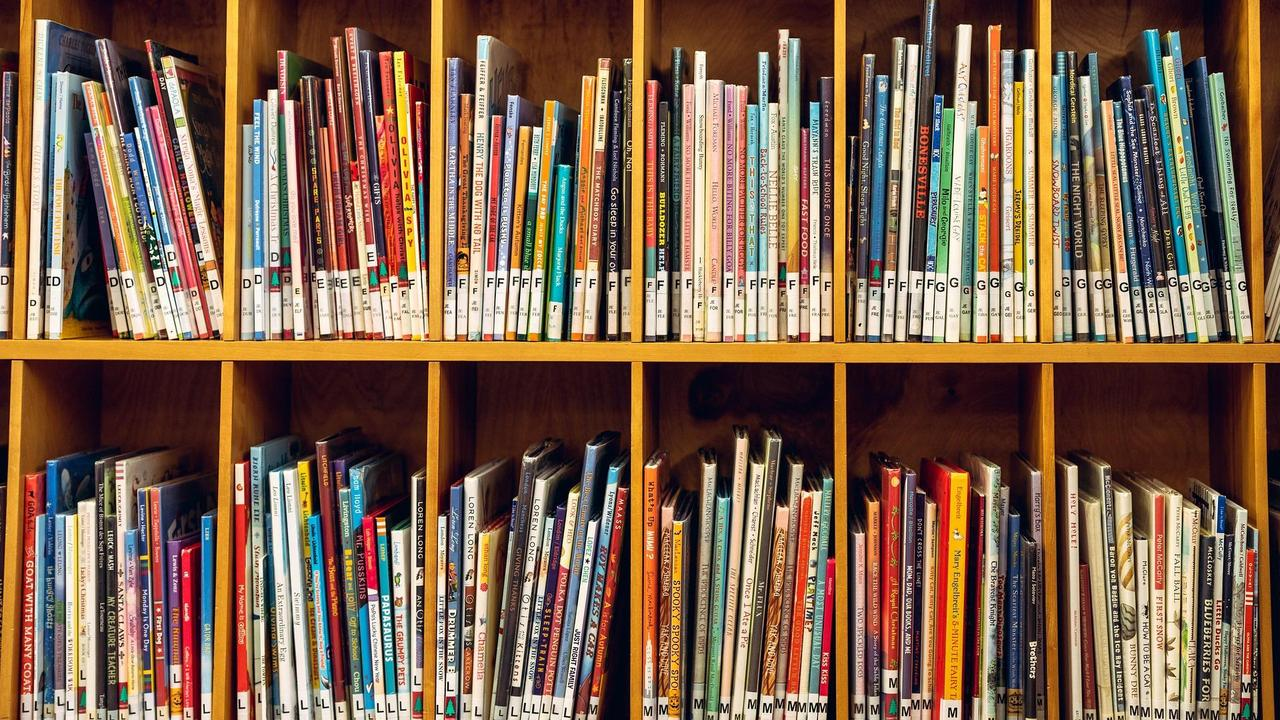 picture books on library shelves