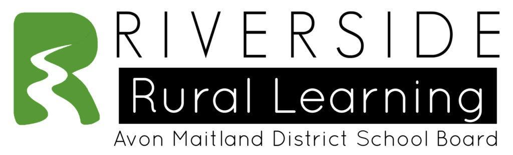 """Riverside Rural Learning logo. Green R with stylized river. Text in black and white: """"Riverside Rural Learning. Avon Maitland District School Board."""""""