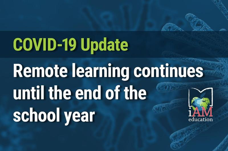 COVID-19 Update: Remote learning continues until the end of the school year. AMDSB logo.