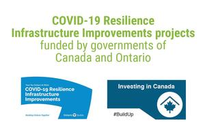 White background with images for the COVID-19 Resilience Infrastructure Projects