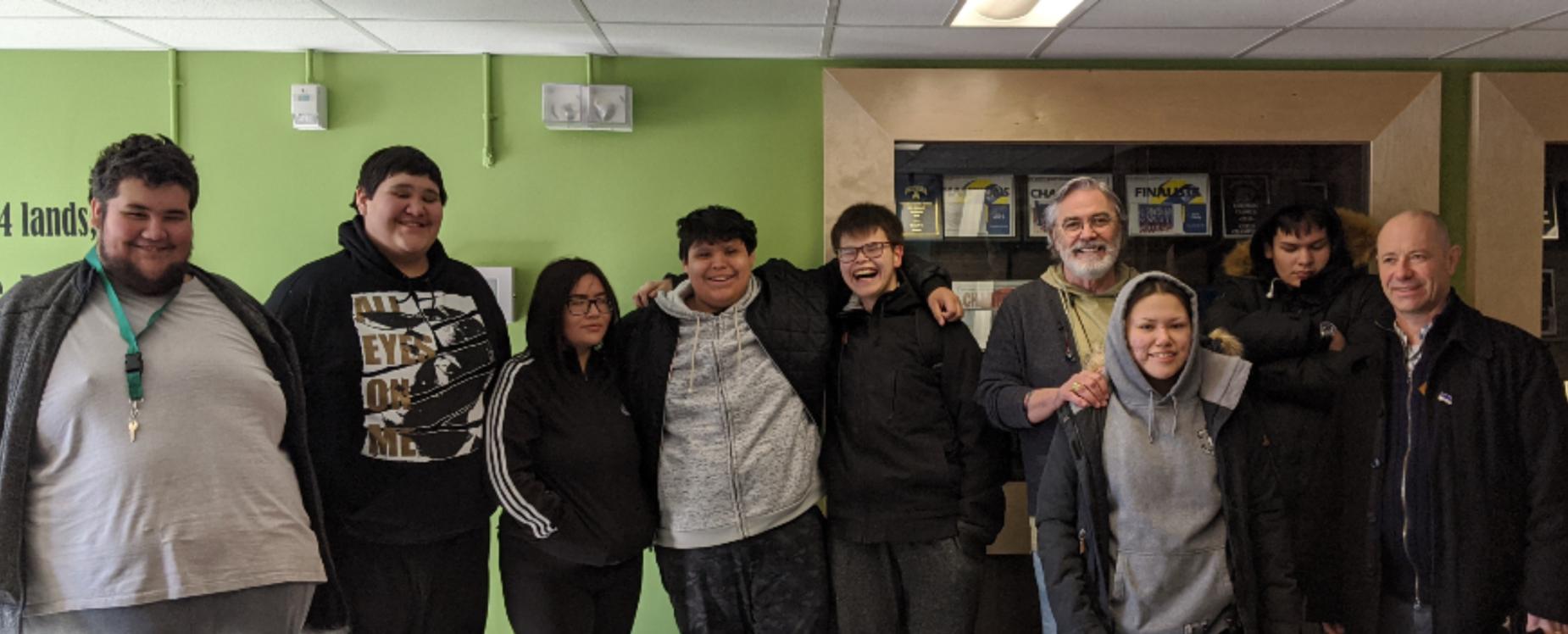 students with David Bouchard