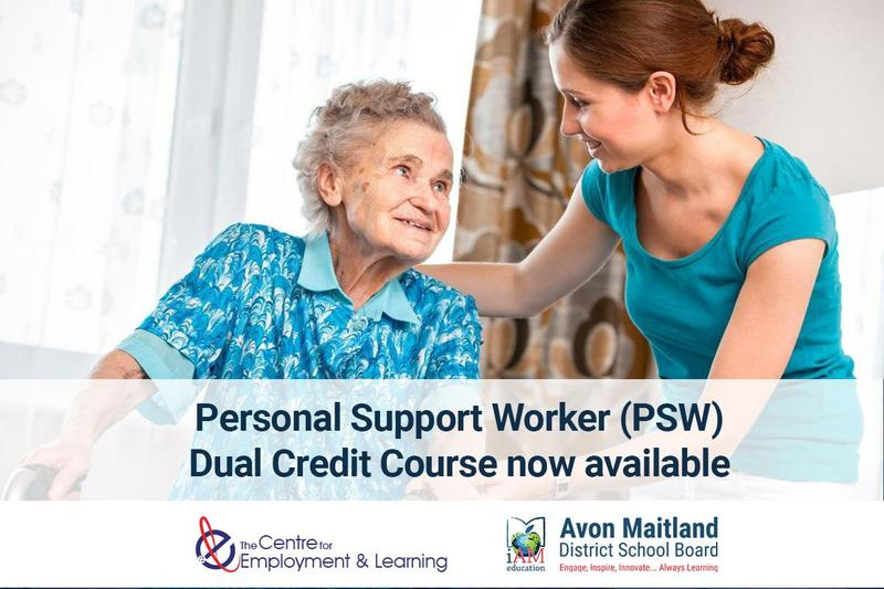 Image of elderly woman with caregiver. Personal Support Worker (PSW) Dual Credit Course now available. Centre for Employment and Learning. AMDSB logo