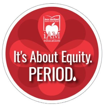 """Menstrual Equity logo - red flowers with """"It's about equity. Period."""""""
