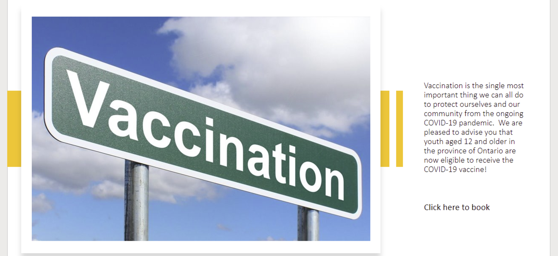 vaccination information and booking links