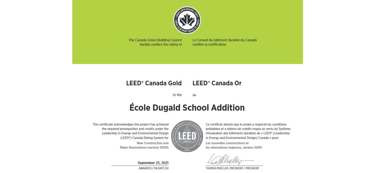 Leed certification for Ecole Dugald School