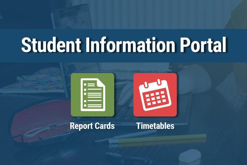 blue background, icons for report cards and timetables. Text: Student Information Portal