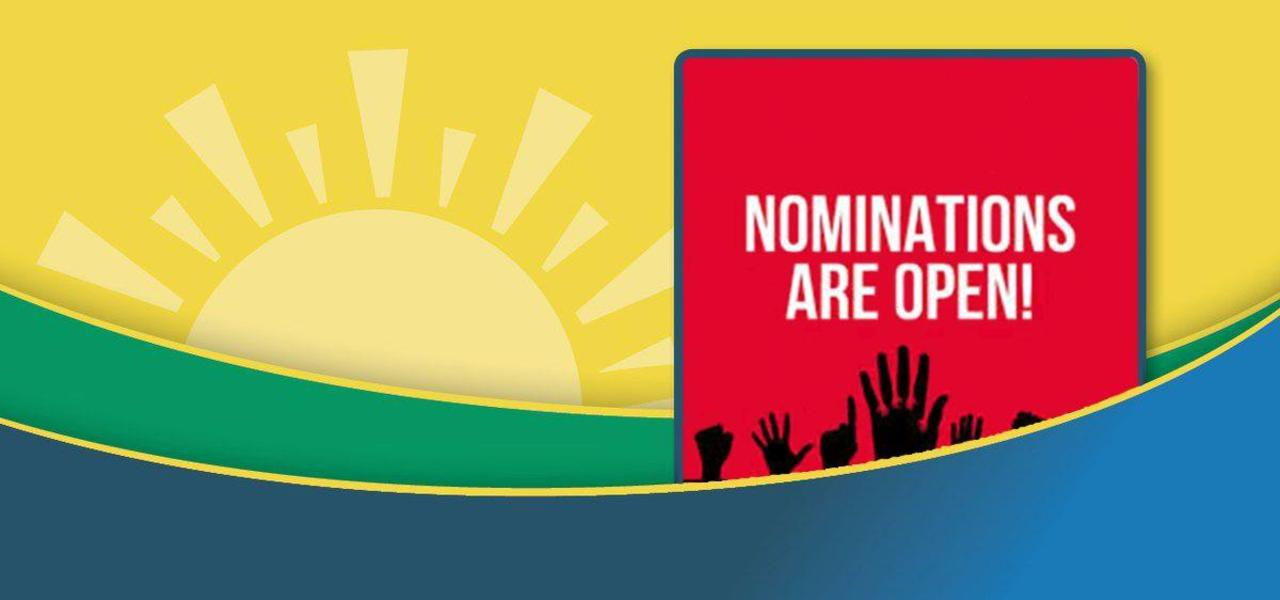 Sunrise Logo Banner with wording Nominations are Open in the right corner