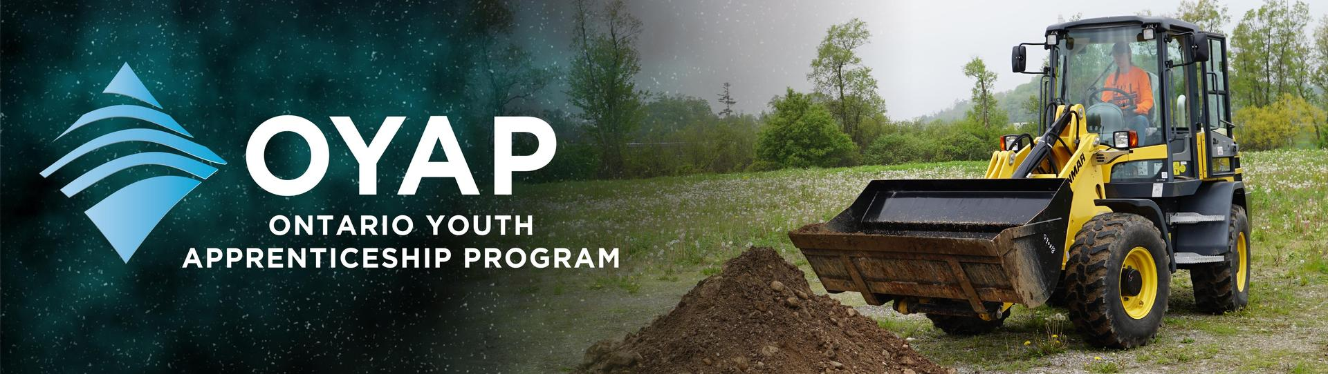 OYAP Ontario Youth Apprenticeship program logo. Image of student driving a backhoe.