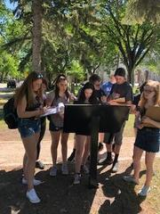 Students at Riel's tomb