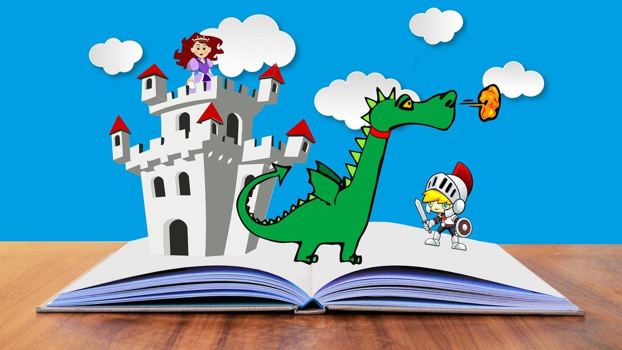 knight, fire breathing dragon and princess in castle popping out of an open book