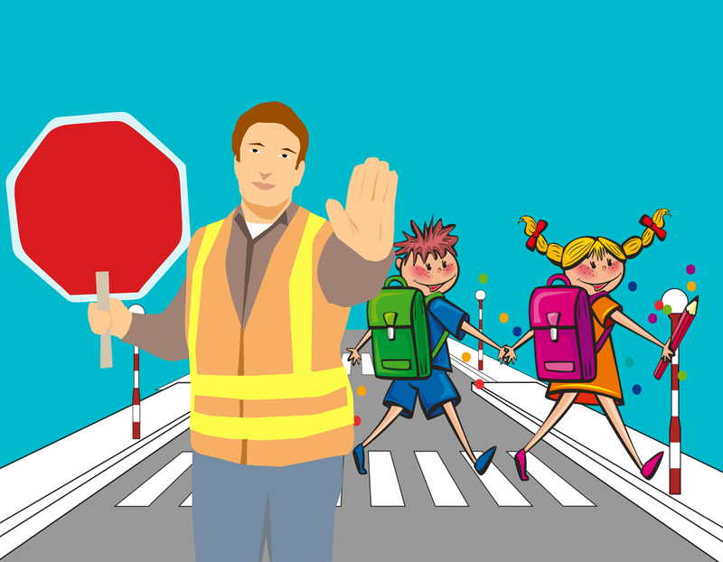 cartoon of crossing guard holding up stop sign while a girl and a boy cross behind him