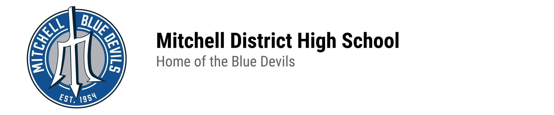 MDHS logo. Mitchell District High School. Home of the Blue Devils