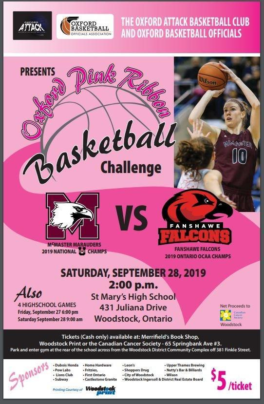 Oxford pink ribbon basketball challenge poster