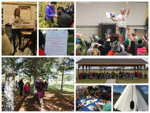 Collage of students and staff engaged in learning activities.