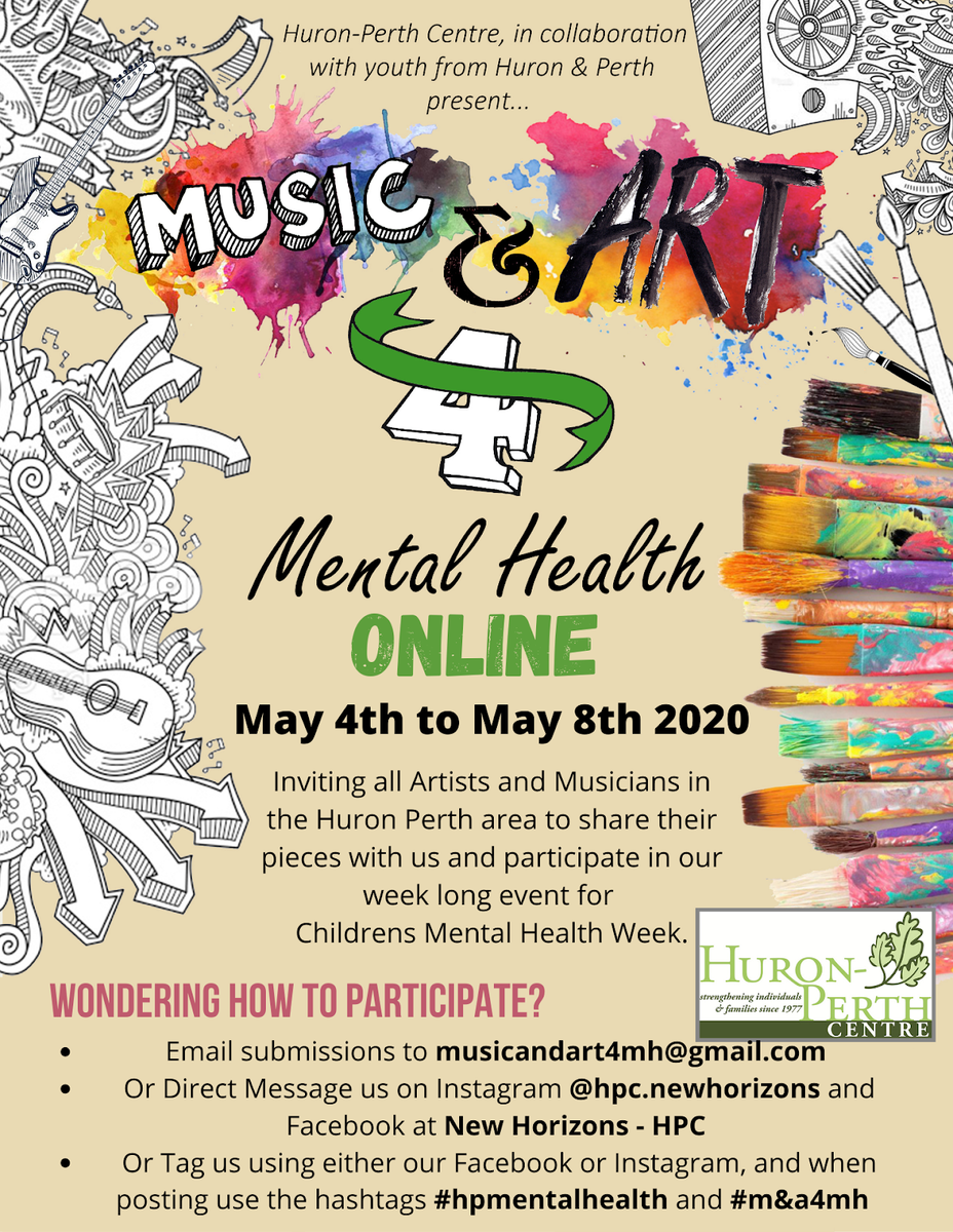 A poster outlining the music and art challenge during mental health week