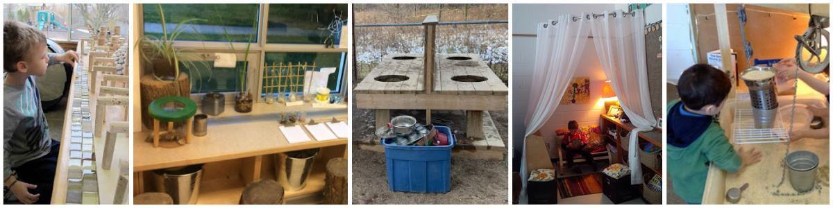 Collage of photos of AMDSB kindergarten classroom