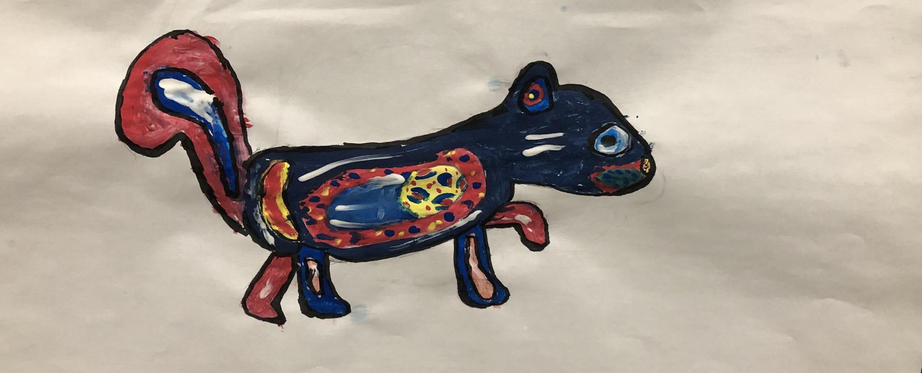An indigenous style student painting of a fox