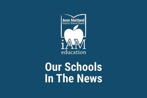 Navy background with AMDSB logo. Text: Our schools in the news