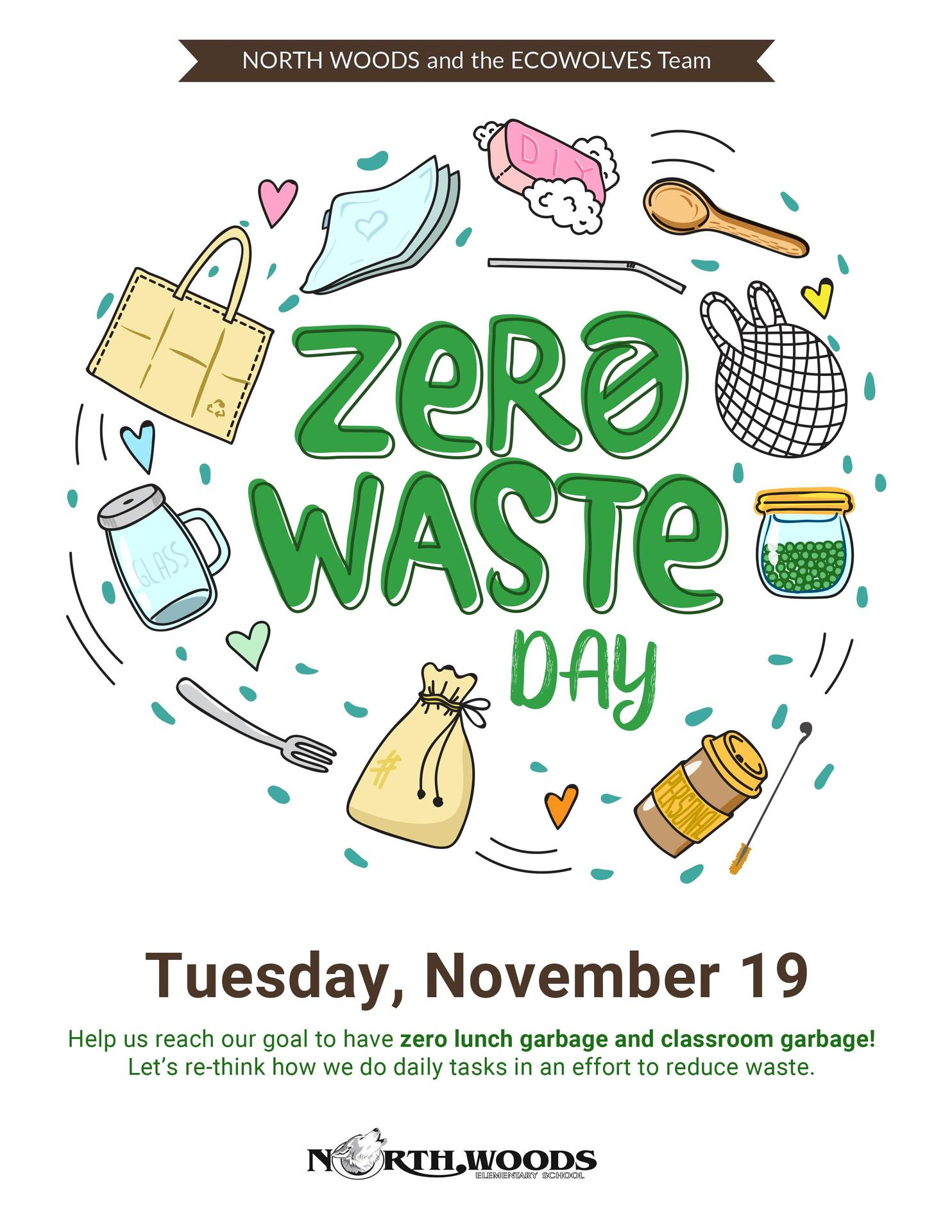Poster with illustrated graphics to show how to reduce waste.