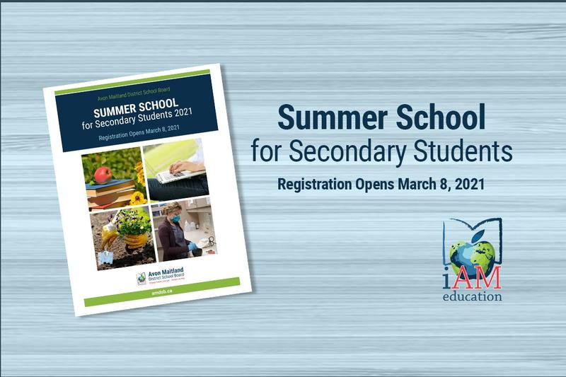 light blue background, small photo of front cover of summer school booklet, with
