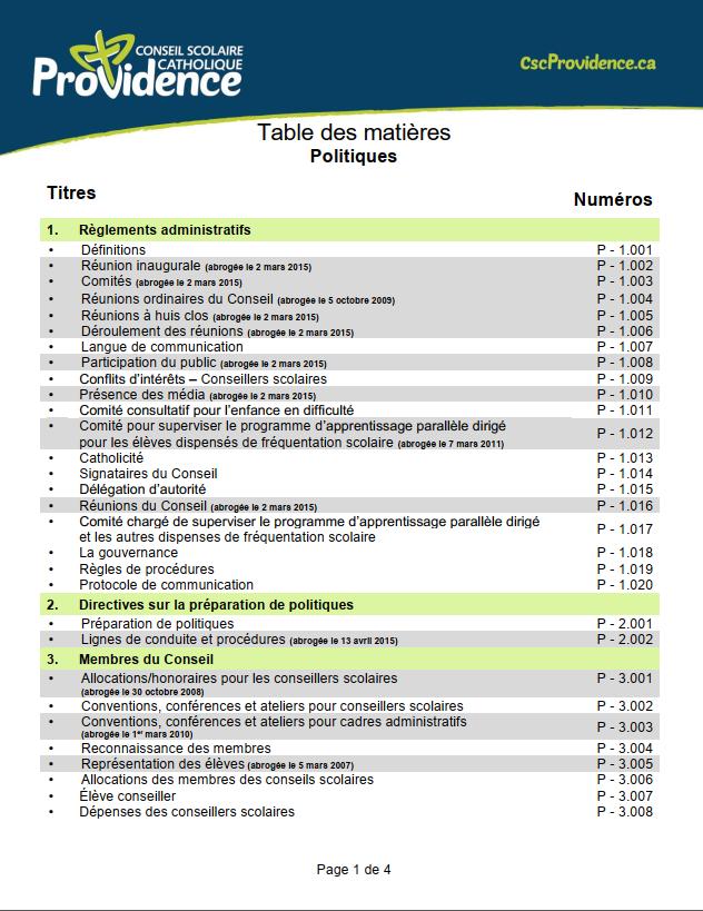Table des matières : Politiques (page 1 de 4)