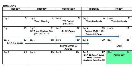 School Calendar June