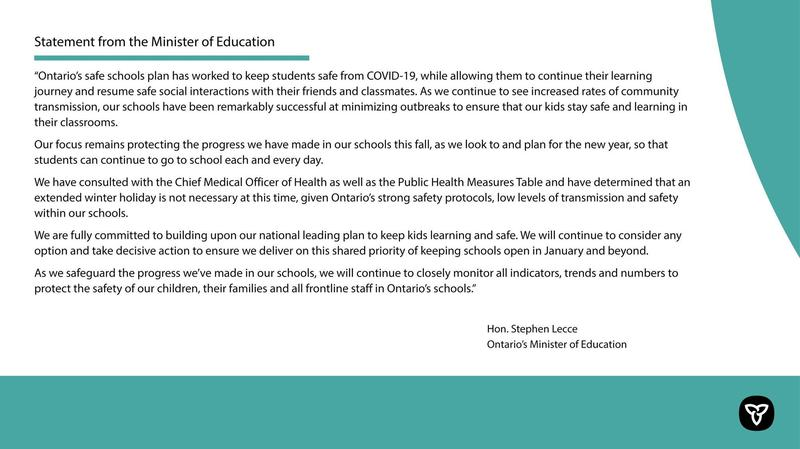 Statement from the Minister of Education Featured Photo