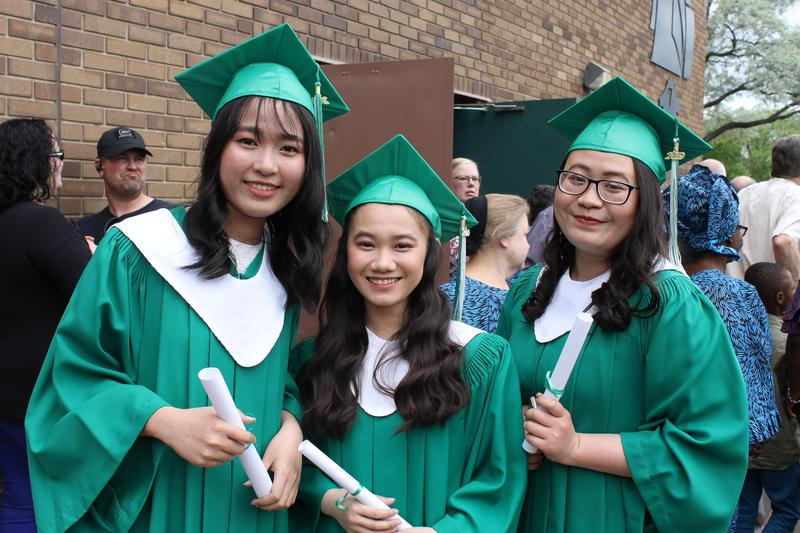 3 girls after grad ceremony