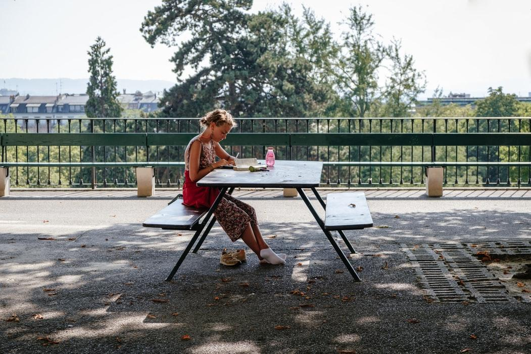 Student studying in the park