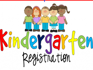 A group of kids standing above the words Kindergarten Registration